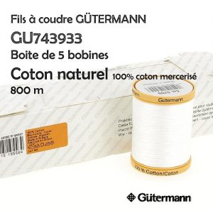 Boite 5 bobines Coton naturel 800m 100% Coton merc