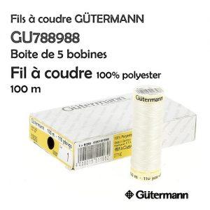 Boite 5 bobines fil t. coudre 100m 100% polyester