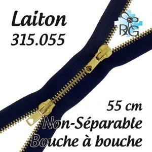 Fermeture b à b laiton non séparable 55 cm