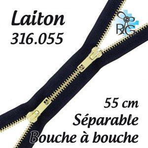 Fermeture b à b laiton séparable 55 cm