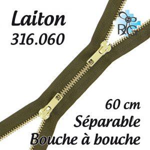 Fermeture b à b laiton séparable 60 cm