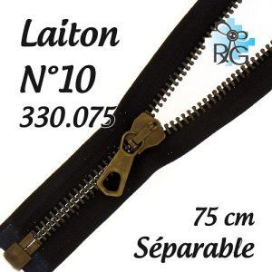 Fermeture laiton n°10 séparable 75 cm