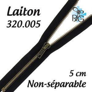 Fermeture laiton non séparable 5 cm