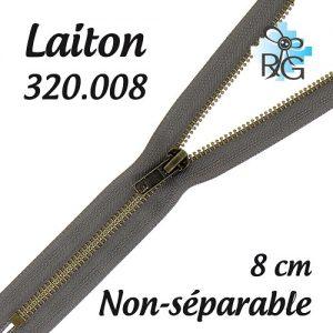 Fermeture laiton non séparable 8 cm