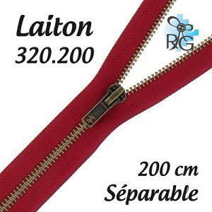 Fermeture laiton séparable 200 cm