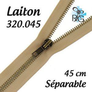 Fermeture laiton séparable 45 cm