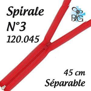 Fermeture spirale n°3 séparable 45 cm