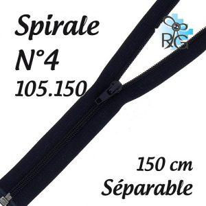 Fermeture spirale n°4 séparable 150 cm
