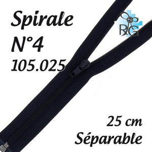 Fermeture spirale n°4 séparable 25 cm
