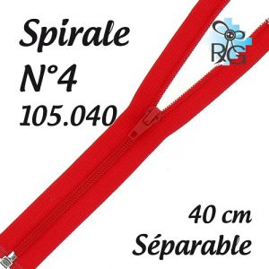 Fermeture spirale n°4 séparable 40 cm