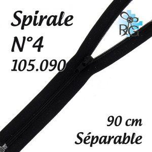 Fermeture spirale n°4 séparable 90 cm