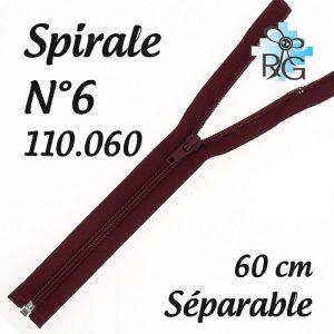 Fermeture spirale n°6 séparable 60 cm