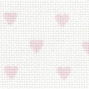 Toile Aïda bébé coeurs 5,5 points/cm 35 x 45 cm