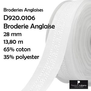 Disquette 13.80 m broderie Anglaise 28 mm