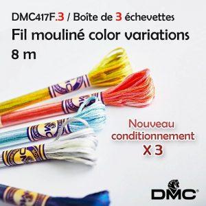 Boite 3 échevettes 8 m Fil mouliné color