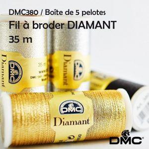 Boite 6 bobines diamant fil à broder métal
