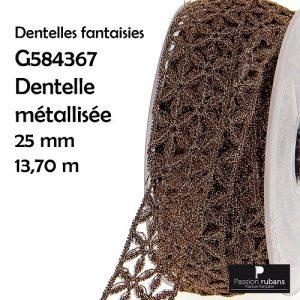 Bobine 13.7 m dentelle métallisée 25 mm
