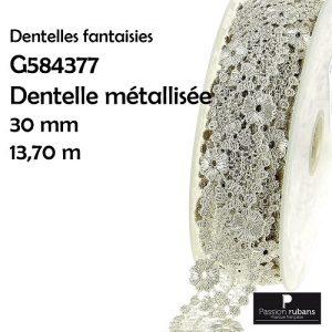 Bobine 13.7 m dentelle métallisée 30 mm