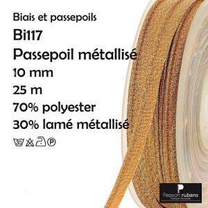 Bobine 25 m Passepoil métallisé10 mm