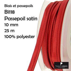 Bobine 25 m Passepoil satin10 mm