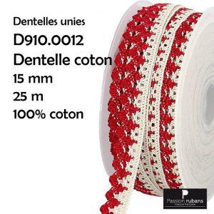 Bobine 25 m dentelle coton 15 mm double couleur