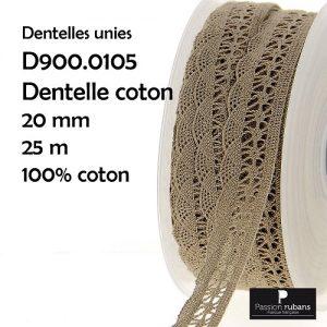 Bobine 25 m dentelle coton 20 mm