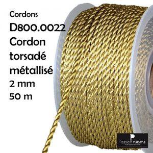 Bobine 50 m Cordon à passementerie 2 mm