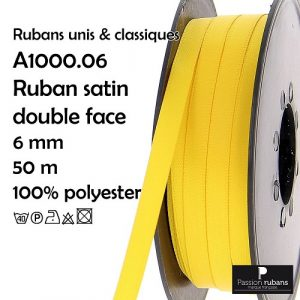 Bobine 50 m satin double face 6 mm 100% Polyester