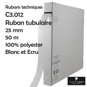 Boite 50 m ruban tubulaire 25 mm - 100% polyester