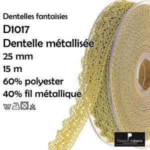 Disquette 15 m dentelle metalisée 25 mm
